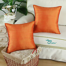 2 Pack Cushion Covers Pillows Cases Striped Dyed Home Decor 45 X 45 Orange