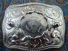 NUOVO realizzato a mano in Metallo Argento Cintura Fibbia USA moneta da mezzo dollaro Cowboy Western