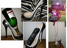 Silver Leopard Design Lace Covered Stiletto Shoe Wine Enthuiast Bottle Holder