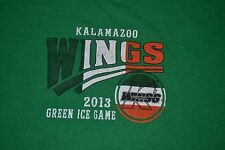 Kalamazoo Michigan K Wings Minor League Hockey T Shirt Large Green Ice 2013 ECHL
