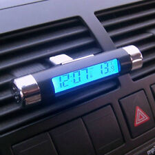 Car Air Vent Clip-on Stick On Thermometer Digital + Electronic Clock LCD Display