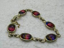 "Vintage Sarah Coventry Multi-Color Stone Bracelet, Scarab Style, 7.5"""