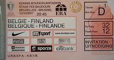 TICKET 13.10.2007 Belgien Belgium - Finnland