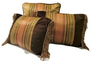 3 Croscill Carrington Cinnamon Velvet Green Stripe Fringe Deco Throw Pillows EUC
