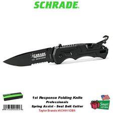 Scrade 1st Response Folding Knife, Spring Assist, Seat Belt Cutter #SCH911DBS