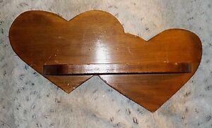 "Double heart wood wall shelf, 2 1/2"" x 12 1/2"", 8 1/2"" high"