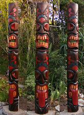 Tiki Totem Tongue 2 face Tribal Wood Wall Mask Patio Tropical Bar Decor 60""