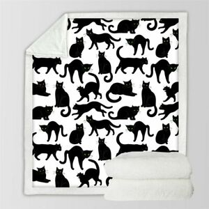Scary Black Cat Eyes Animal Pet Sherpa Plush Throw Blanket Fleece Bed Sofa Couch