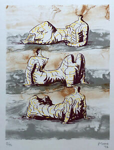 Henry MOORE three reclining figures 1972 Original hand signed dated lithography