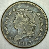 1813 Classic Head One Cent Copper Large Cent Coin 1c US Coin Fine Circulated