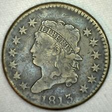 1813 Classic Head One Cent Copper Large Cent Coin 1c Us Coin Fine Circulated K31