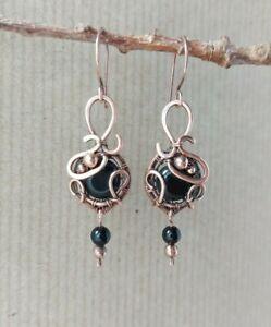 Oxidized Copper & Black Agate Wirework Dangle Earrings Handmade