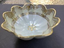 Antique Nippon Morimura~Hand Painted Footed Bowl~Moriage Beaded Gold Trim