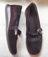 Clarks Ladies Brown Suede Leather shoes strap with toggle trim UK 5 EU 38
