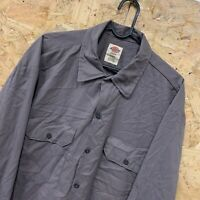 "Vintage Dickies ""Flex"" Grey Long Sleeved Canvas Workwear Shirt Size Large L"