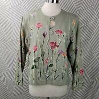 Vintage Coldwater Creek Jacket Large Floral Cotton Flax Lagenlook Cottagecore