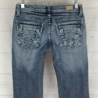 See Thru Soul Embellished Womens Size 26 in. Stretch Distressed Flap Flare Jeans