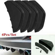Universal Black ABS Rear Bumper Lip Diffuser Shark Fin Car Back Splitter 4Pcs