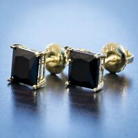 Men Gold Black CZ Onyx Solitaire Princess Cut Stud Earrings