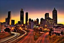Atlanta Georgia Skyline at Rush Hour Photo Art Print Mural Poster 36x54 inch