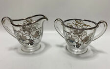 Antique Clear Thick Glass Cream & Sugar Set W/ Silver Overlay Floral Design