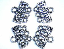TWO SETS 3 HOLE SLIDER BEAD LINK END BAR CLASP CONNECTOR ANTIQUED SILVER PLATED
