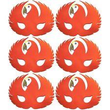 6 Foam Red Parrot Masks - Animal Fancy Dress For Children & Grown Ups