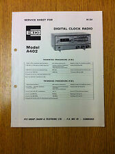 EKCO A402 Digital Clock Radio Service Sheet Vintage - Radio