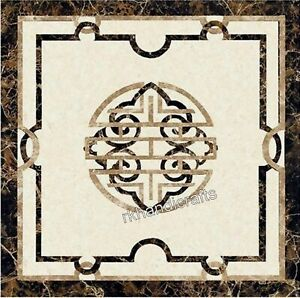 24 Inches Marble Inlay Table Top with Unique Pattern Coffee Table Home Assents