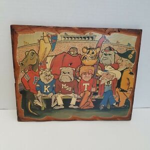 Big Ten FAMILY PORTRAIT SEC Football 1970 Print Art Wall Plaque Wooden Mascots