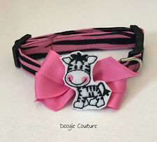 Brand New! Pink Zebra Dog Collar Size XS-L by Doogie Couture