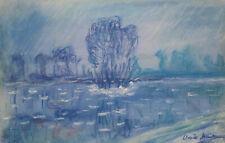 Claude Monet signed Impressionist Pastel painting, Renoir, Sisley era