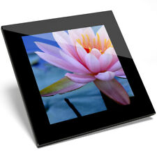 1 x Pink Lotus Lily Flower Pond Glass Coaster - Kitchen Student Gift #13118