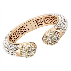 Ladies rose gold bangle cz hinged pave size 6.75 inch clear sparkling 4290