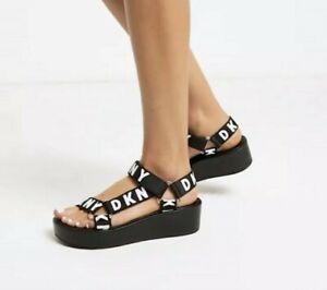 DKNY Ayli Logo Strap Platform Sandals In Black U.K 8.5 BRAND NEW WITH TAGS!