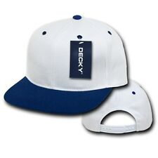 White & Navy Blue Plain Solid Flat Bill Snapback Vintage Retro Baseball Cap Hat
