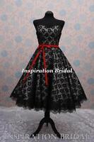 c364 retro short tea length knee wedding dress vintage white and black new lace
