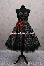 c364 retro short tea length knee wedding dress vintage white and black new lace