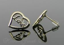 ❤ Lovely Yellow Gold Plated Womens Girls Love Inscribed Heart Earrings Studs ❤