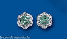 Emerald Earrings Diamond Stud Sterling Silver Studs Natural Stones