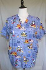 Disney Scrub Top 2X 101 Mickey Goofy Donald Duck Halloween Pirate Candy Blue T12