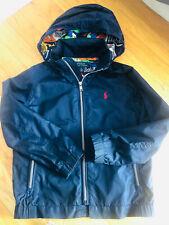 Ralph Lauren Polo Boys Sz 6 Navy Blue Zippered Hooded Wind Breaker Rain Jacket