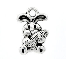 6 Silver Tone EASTER BUNNY RABBIT Charms Pendant  15x10mm. chs0814