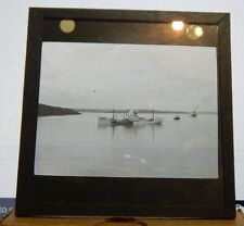 Antique Glass slide Merchant Ship Moored Panama  1930's