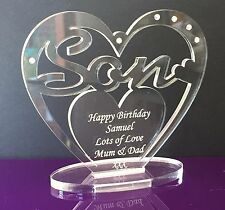 Personalised Son Birthday Gift Heart with message -  Free Standing Keepsake