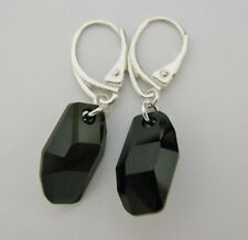Lever Back Earrings made with Swarovski Jet Black Meteor & Solid Sterling Silver
