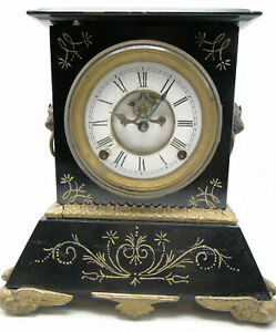 Old Iron Case Mantle Clock Open Escapement Key Wind w Jacot's Regulator Pendulum