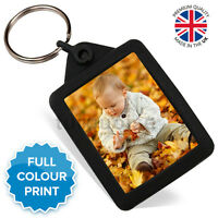 Personalised Photo Gift Black Gel Keyring Key Fob 45 x 35 mm | Passport Size