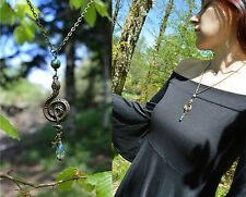 Bronze green crystal snake pendant serpent necklace dark mori strega goth witch