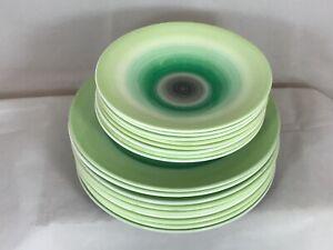Shelley Art Deco Harmony Dripware Banded Green Swirl lunch plates Saucers lot 17
